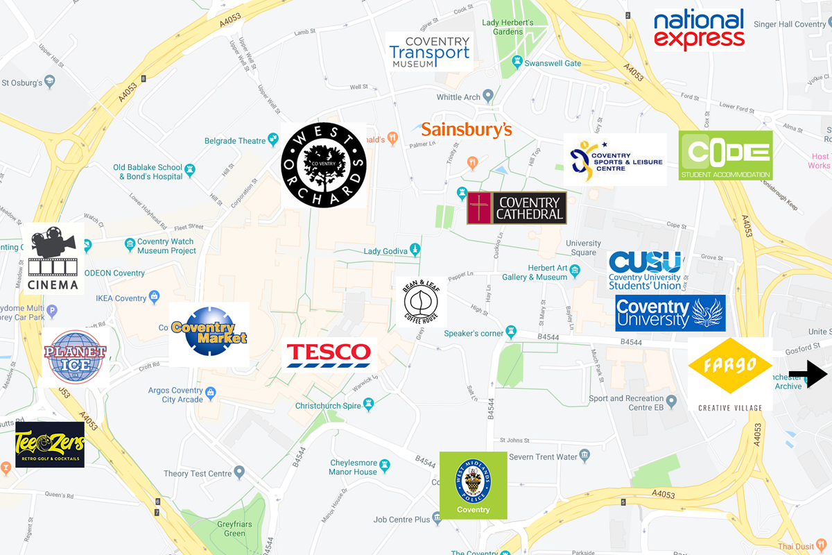 CODE Student Accommodation Coventry Location map