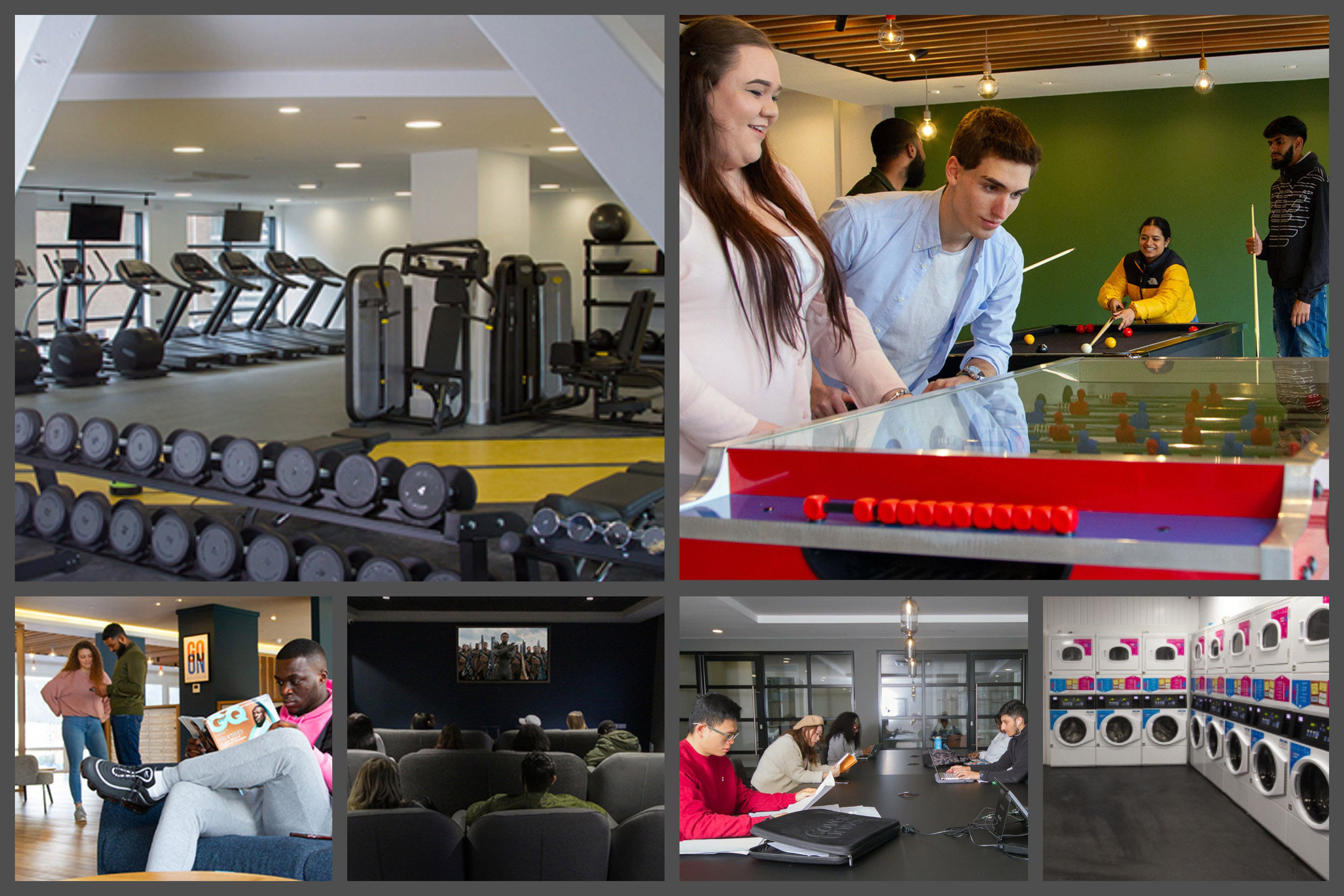 montage of facilities at CODE student Accommodation Coventry