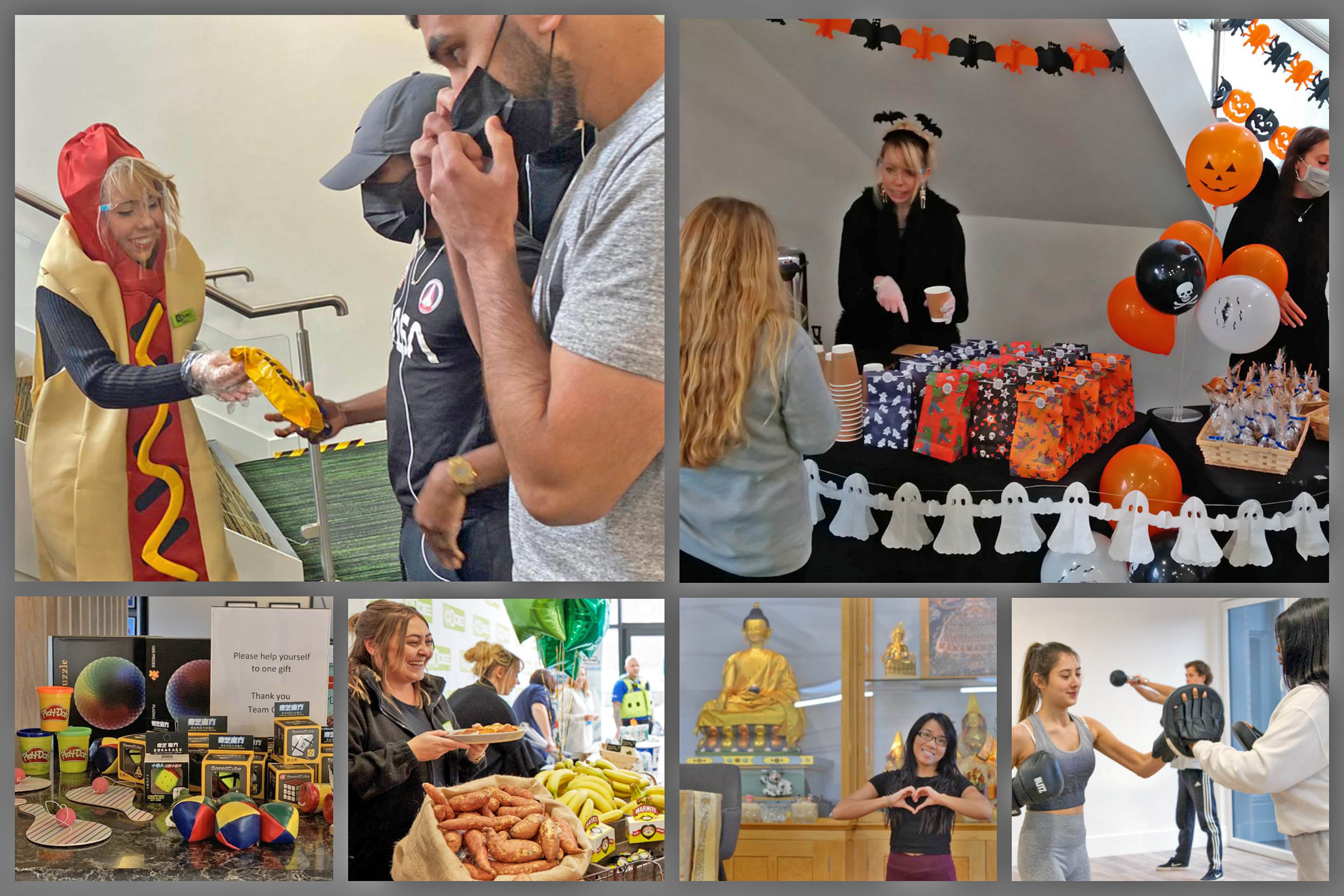 montage of health and happiness events at CODE student Accommodation Coventry