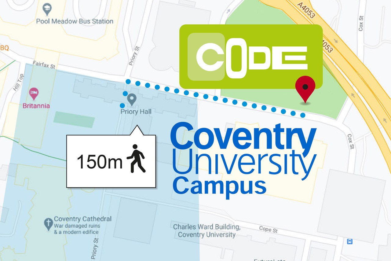 Location map CODE Coventry just 2 mins from Coventry Univerisity