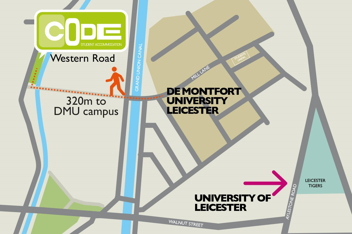 Map showing CODE Student Accommodation Leicester is just 5 minutes walk from DMU
